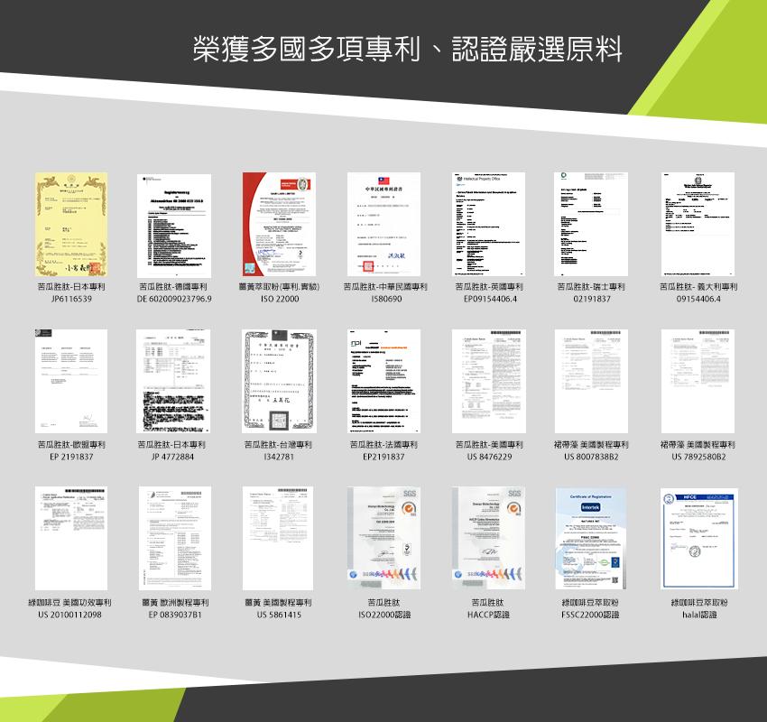 榮獲多國多項專利、認證嚴選原料
