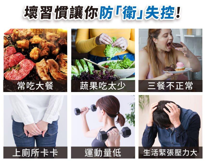 壞習慣讓你防衛失控,常吃大餐,蔬果吃太少,三餐不正常,上廁所卡卡,運動量低,生活緊張壓力大